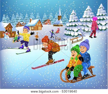 children having fun in the winter season