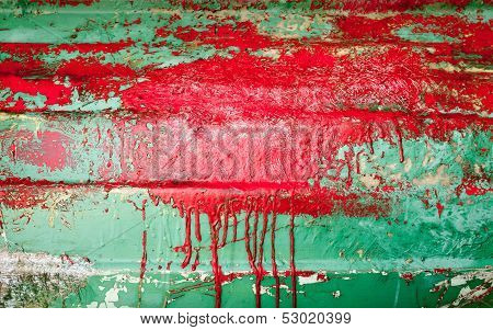 Small Wooden Boat Hull Under Renovation. Background Texture