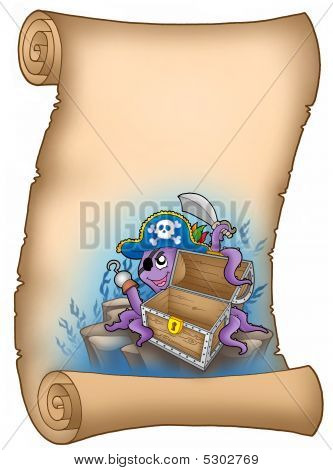 Parchment with pirate octopus and chest - color illustration. poster