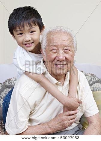 Asian Grandpa And Grandson