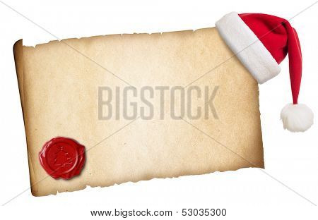 Old parchment with Santa's hat and wax seal isolated