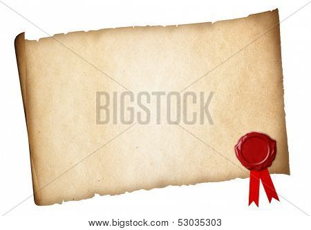 Old paper diploma or certificate parchment with wax seal isolated