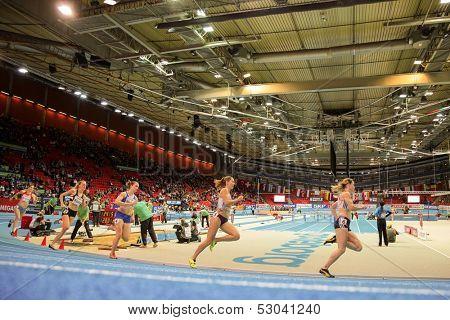 GOTHENBURG, SWEDEN - MARCH 1  Ella Raesaenen (Finland)  places 3rd in heat of the women's 400m event during the European Athletics Indoor Championship on March 1, 2013 in Gothenburg, Sweden.