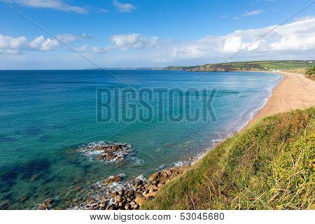 Pra Sands Cornwall England near Penzance and Mullion on the South West Coast Path with a sandy beac