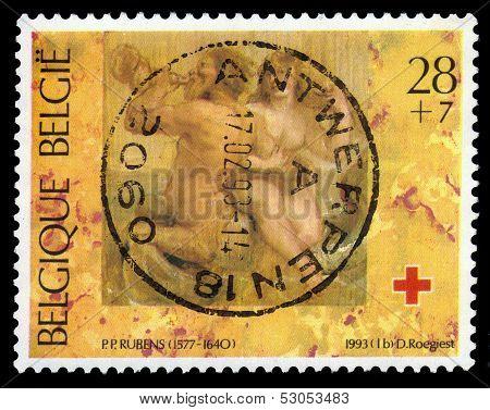 Nereide And Triton Sketch Pp Rubens, old stamp