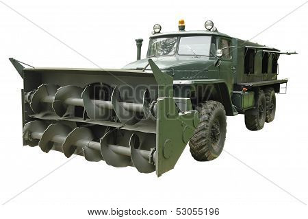 Powerful Military Truck With Snow Plow