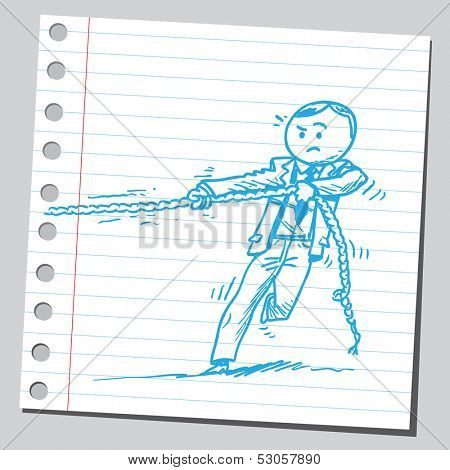 Businessman playing tug of war