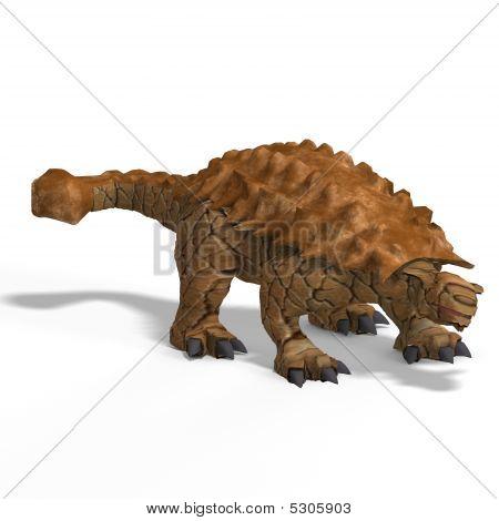 strange dinosaur Ankylosaurus With Clipping Path over white poster
