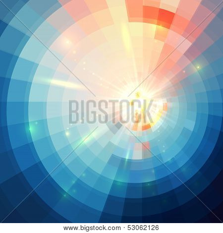 Blue abstract circle tiled vector background
