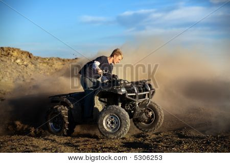 Teen On Quad Four Wheeler Atv