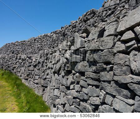 Stone Wall At Dun Aonghasa Aran Islands