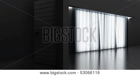 transparent curtains and light from a window into dark room