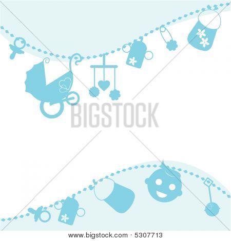 Baby Blue Announcement Card
