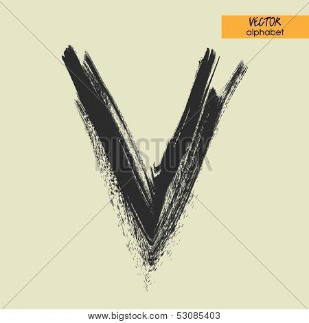art sketched stylization alphabet in vector, black grungy font, sign V