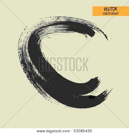 art sketched stylization alphabet in vector, black grungy font, sign C