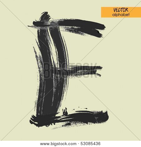 art sketched stylization alphabet in vector, black grungy font, sign E