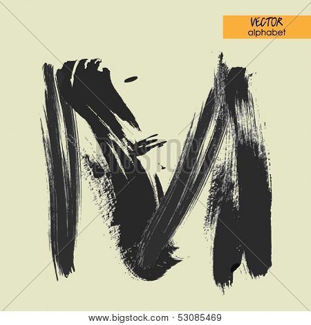 art sketched stylization alphabet in vector, black grungy font, sign M