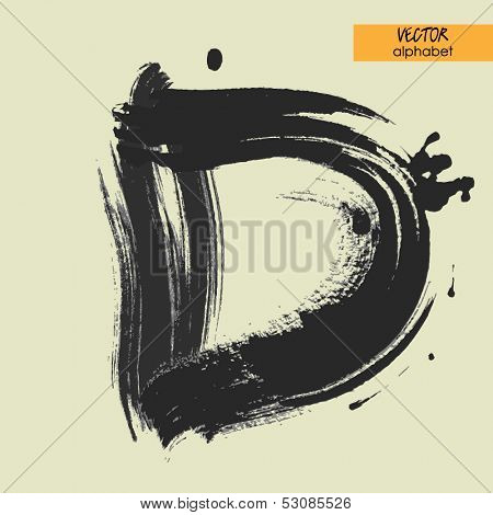 art sketched stylization alphabet in vector, black grungy font, sign D