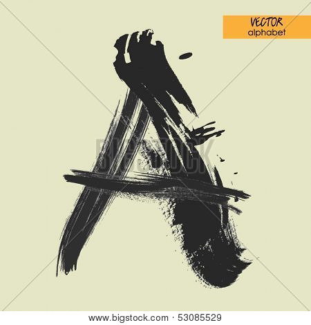 art sketched stylization alphabet in vector, black grungy font, sign A
