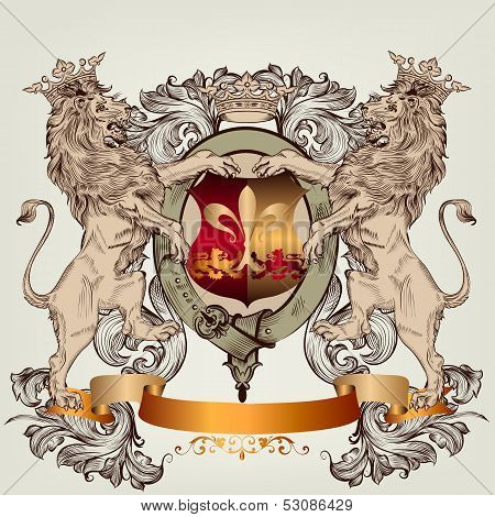 Design With Heraldic Elements And Lions In Vintage Style