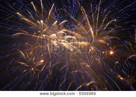 Beautiful fireworks over a black night sky poster