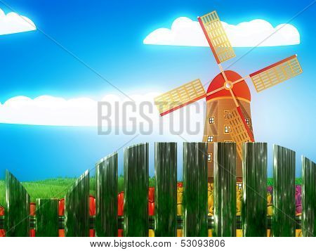 Windmill And Summer Landscape