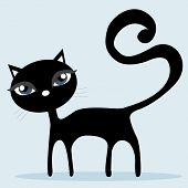 Black cat isolated on Light Blue background - vector illustration poster