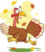 Illustration Of Turkey Escape Cartoon Mascot Character poster