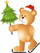 Scalable vectorial image representing a teddy bear ice skating holding Christmas tree, isolated on white. poster