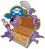 Pirate octopus with open wooden chest - vector illustration. poster
