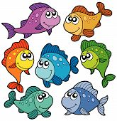 Various cute fishes collection on white background - vector illustration. poster