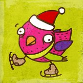 Bird with Santa Hat and Skates. Cute Hand Drawn Vector illustration, Vintage Paper Texture Background poster