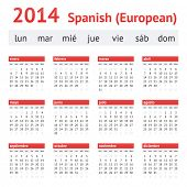 Calendar 2014 (Spain). European Spanish Calendar. Week starting on Monday poster