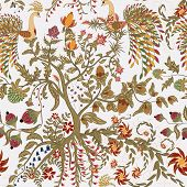Fairy floral seamless pattern with beautiful birds and tree on white poster