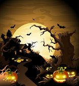 beautiful landscape with the thrown lodge and pumpkins poster