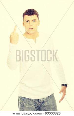 Young man showing middle finger poster