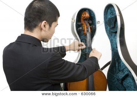 Musician Opening A Cello Case