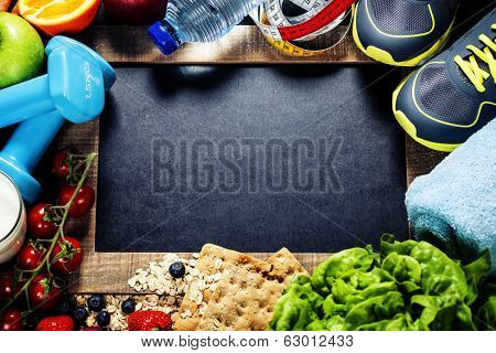 Different tools for sport and diet food - sport, health and diet concept