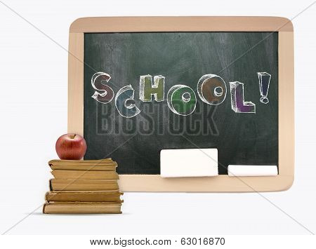 Blackboard With Sketchy Colorful School Word,books And Apple