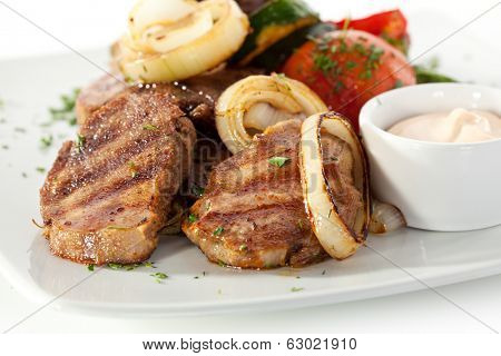 Grilled Beef Tongue with Vegetables