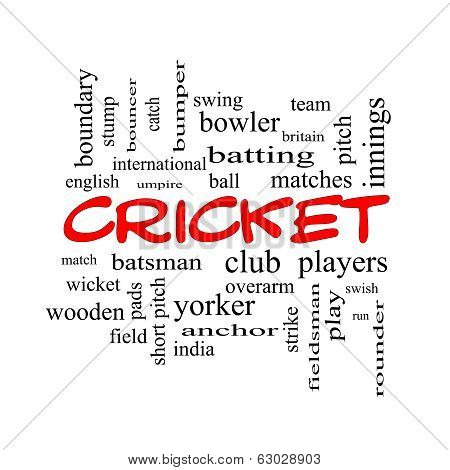 Cricket Word Cloud Concept In Red Caps