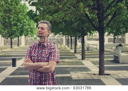 Man In Short Sleeve Shirt Standing In The Street