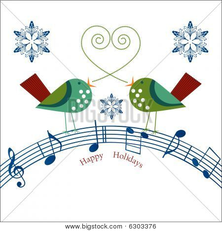 Whimsical Birds Happy Holidays