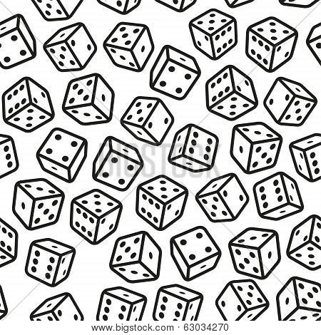 Gambling Dices Seamless Pattern on White Background. Vector Illustration poster