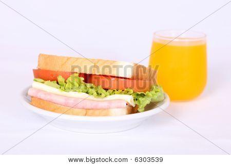 Sandwich And Orange Juice