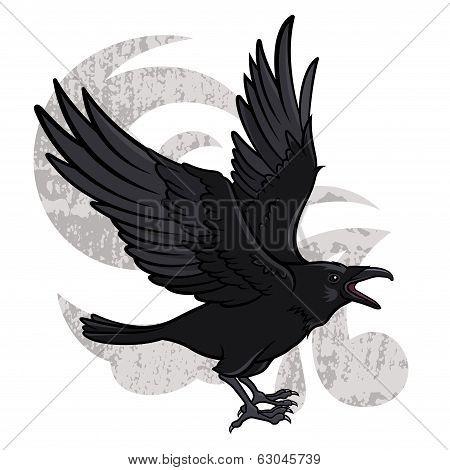 Vector illustration of a flying black raven poster