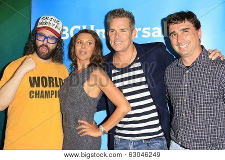 PASADENA - APR 8: Judah Friedlander, Kari Wuhrer, Mark McGrath, Anthony Ferrante at the NBC/Universal's 2014 Summer Press Day held at the Langham Hotel on April 8, 2014 in Pasadena, California