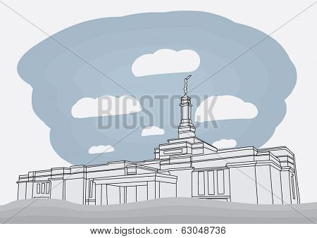 Guadalajara Mexico Temple - The Church of Jesus Christ of Latter-day Saints (mormon) vector illustration