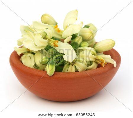 Edible Moringa Flower On A Brown Bowl