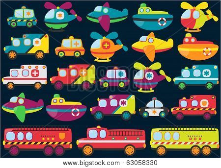 Vector Collection of Cute or Retro Style Emergency Rescue Vehicles poster